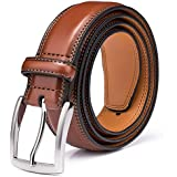 Men's Genuine Leather Dress Belt with Premium Quality - Classic & Fashion Design for Work Business and Casual (esBrown, 36)