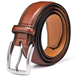 Men's Genuine Leather Dress Belt with Premium Quality - Classic & Fashion Design for Work Business and Casual (esBrown, 36): more info