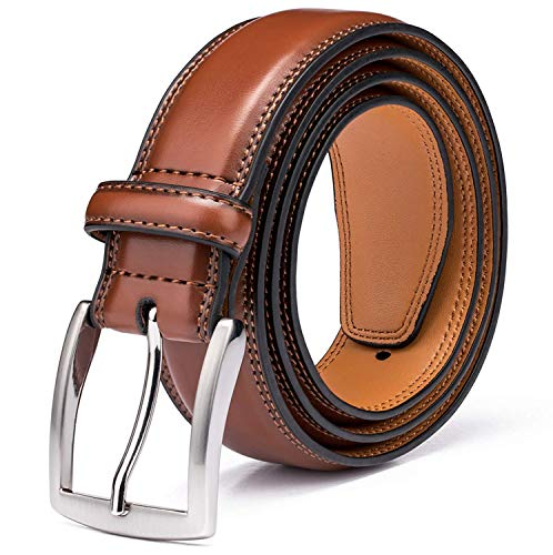 Men's Genuine Leather Dress Belt with Premium Quality - Classic & Fashion Design for Work Business and Casual (esBrown, 46) (Belt Leather Dark)