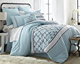 Arizona 8-Piece Modern Embroidered Down Alternative Comforter Set - Bed In A Bag - Queen
