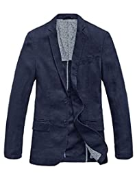 Chouyatou Men's Lightweight Half Lined Two-Button Suit Blazer