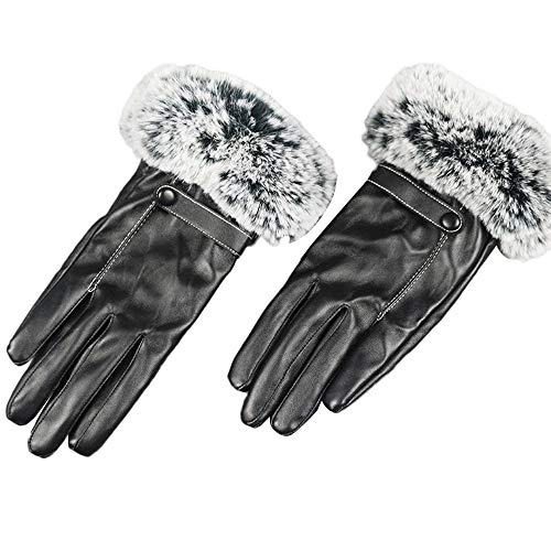 Pausseo Women Autumn Winter Imitation Leather Warm Gloves, Lady Bow Butterfly Touchscreen Mittens Fleece Thicken Plush Outdoor Mittens Students Knitted Wool Casual Solid Color Play Snow Glove