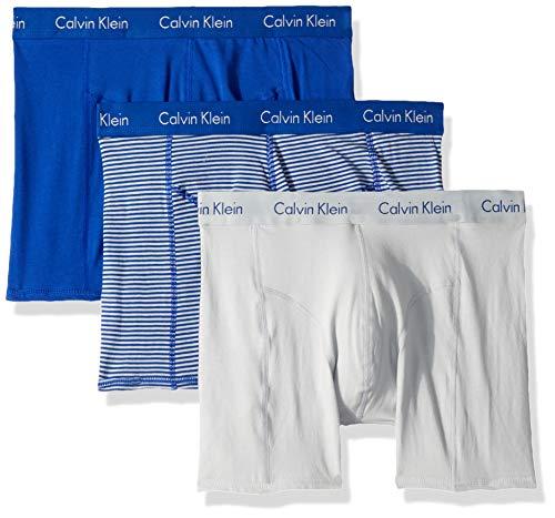 Calvin Klein Men's Elements 3 Pack Boxer Briefs, Pearl/Amplified Blue, S -