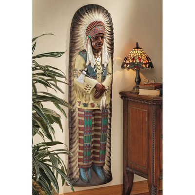 Wall Advertising - Design Toscano Chief Lone Raven Replica Turn-of-the-Century Advertising Wall Sculpture