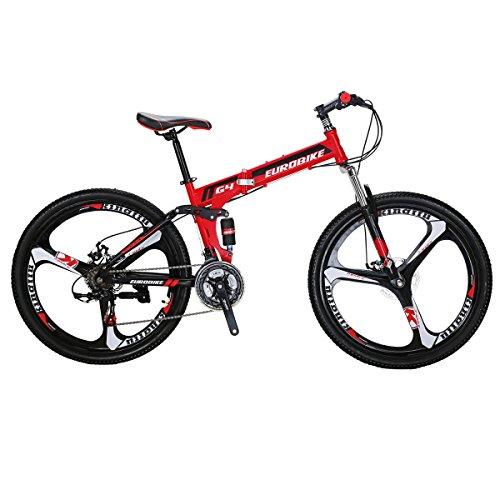 SL Vouwfiets G4 21 Speed Mountainbike 26 Inches 3-spaaks Wielen Fiets (ROOD)