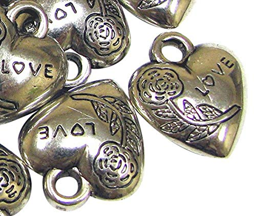 - Linpeng Silver Plated 20Pack Heart Charms, Rose S