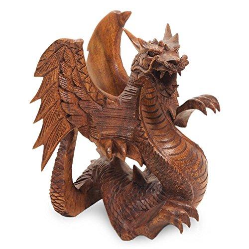 NOVICA 131728 Winged Dragon Wood Statuette