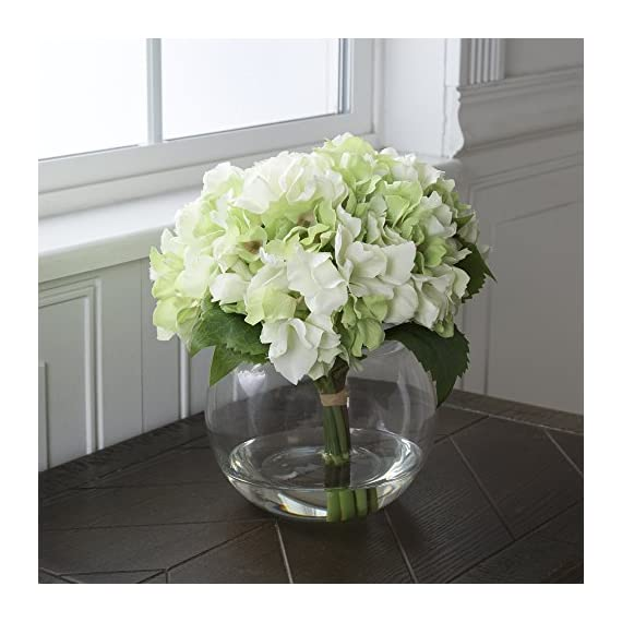 Pure Garden Hydrangea Floral Arrangement with Glass Vase - Green - Five Green Hydrangeas Flower material: synthetic fabric (PE) Vase material: glass - vases, kitchen-dining-room-decor, kitchen-dining-room - 51nJFMEch L. SS570  -