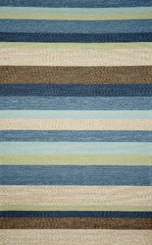 Liora Manne Ravella Stripe Rug, Indoor/Outdoor, 42-Inch by 66-Inch, Denim