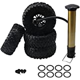 Mxfans 4PCS Black Rubber Inflatable Tires & 2.2 Inch Hex Hub Style Wheel Rim With Inflator Alloy Beadlocks for RC1:10 Largefoot Rock Crawler