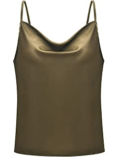 64affe292cf Simplee Women's Casual Silk Satin Tank Top Sexy Plain Cami V Neck ...