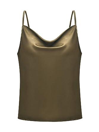 2638359e519485 Simplee Women s Casual Silk Satin Tank Top Sexy Plain Cami V Neck Spaghetti  Strap Vest Top