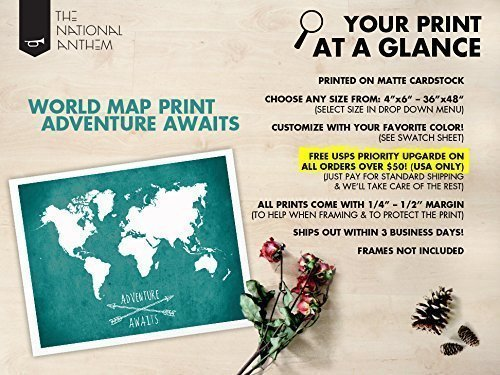 Amazon Com World Map Poster Adventure Awaits World Map Map Of World Home Decor World Map Wall Art World Map Poster Decor Giant World Map Poster
