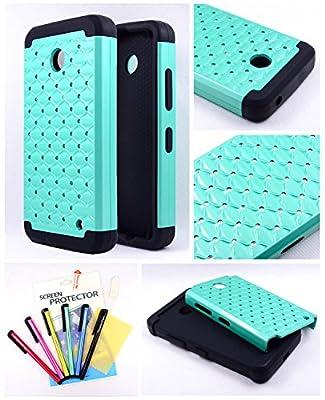 Thousand Eight(TM) For Nokia lumia 635, Nokia lumia 630 Diamond Studded Silicone Rubber Skin Hard Case + [Thousand Eight(TM)Touch Screen Stylus] from Thousand Eight