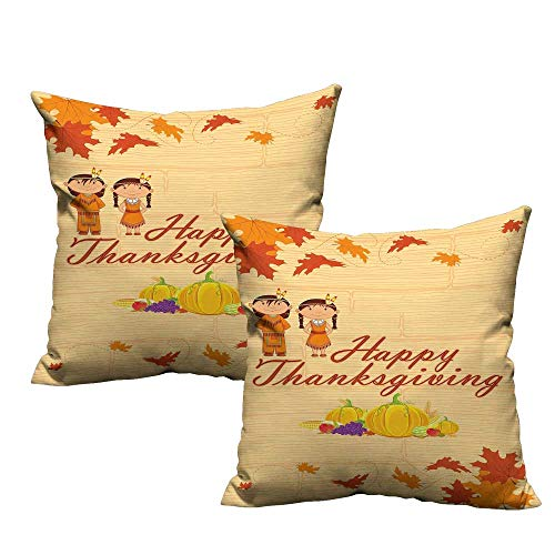 Kids Thanksgiving Soft Microfiber Pillowcase Set Children in Native American Costume Preserving Indigenous Heritage Resists Stains, Wrinkles 14