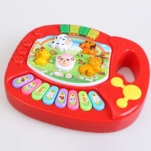 [Parit Musical Educational Animal Farm Piano Developmental Music Toy for Baby Kids Gift, Red] (Mini Black And White Spanish Hat)