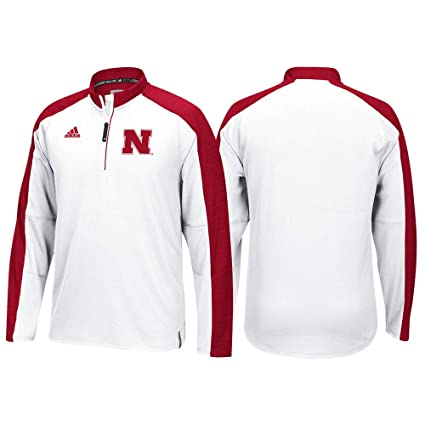 White adidas NCAA Men/'s Nebraska Cornhuskers Team Logo 1//4 Zip Pullover