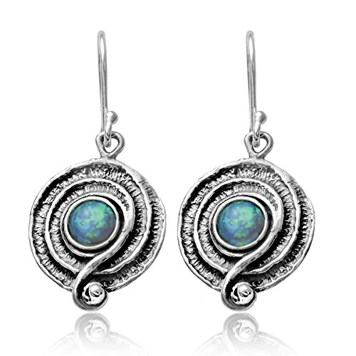 - Round Swirl Created Blue Fire Opal 925 Sterling Silver Dangle Earrings with Decorative Spiral Design