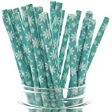 Frozen Snowflake Straws (25 Pack) - Christmas Straws, Teal Green Blue Paper Straws, Winter Snow Flakes Party Supplies