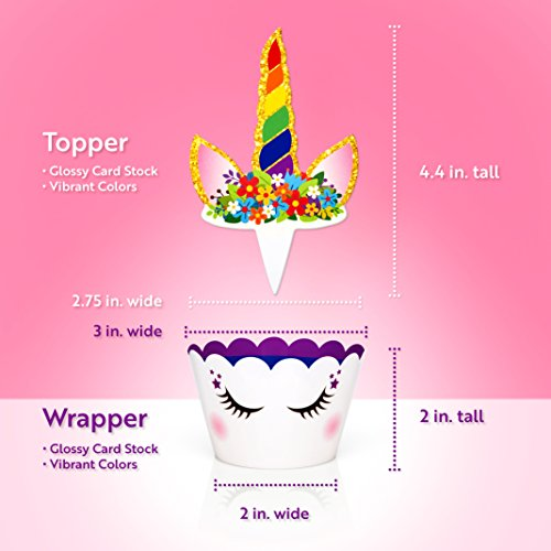 Rainbow Unicorn Cupcake Toppers and Wrappers - Girl's Birthday Party Supplies and Baby Shower, Rainbow Unicorn Cake Decoration - Double Sided - Set of 24 by Fiesta! Fiesta! (Image #4)