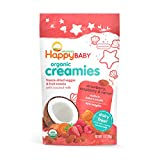 Happy Baby Organic Creamies Freeze-Dried Veggie & Fruit Snacks with Coconut Milk Strawberry Raspberry & Carrot, 1 Ounce Bag (Pack of 8) (Packaging May Vary)