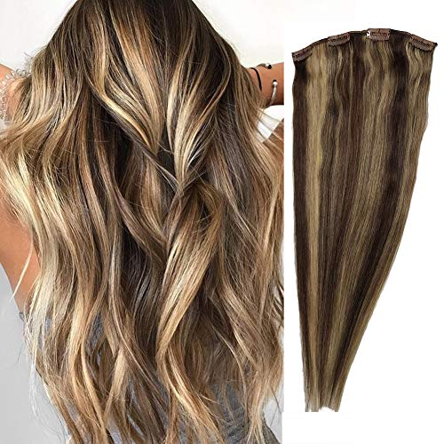 120g Clip in Extensions bayalage highlights Human Hair Extensions for Women Full Head 16inch Clip in/on Hair Thick Brazilian Remy Hair Straight 7pcs(16