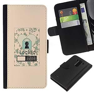 KLONGSHOP // Tirón de la caja Cartera de cuero con ranuras para tarjetas - Bloqueo de pantalla Love Heart Ilustración floral del cartel - LG G3 //