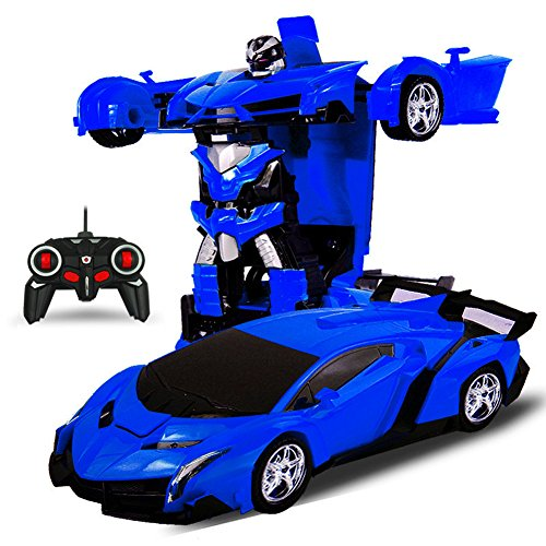 Qiyun Deformation Robot CarOne-key Deformation Robot Autobots Toy Transformation Electric Car Model with Remote Controllercolour:Blue / battery version; style:1:18