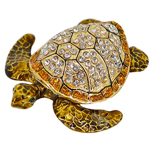 CLARA Crystal Studded Sea Turtle Jewelry Box Hand-Painted Collectible Trinket Box Proposal Engagement Ring Box Tortoise