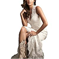 Ellenhouse Women's 2018 Lace Long Vintage Country Style Bridal Wedding Dress