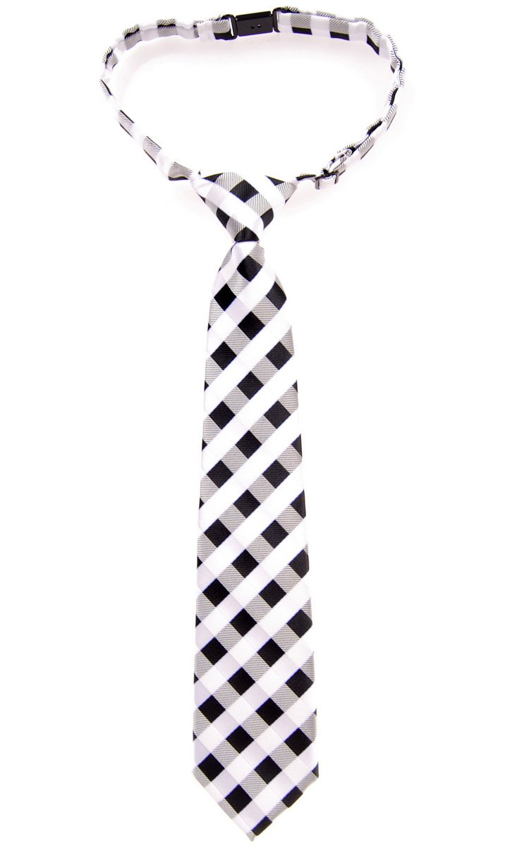 Retreez Classic Check Woven Microfiber Pre-tied Boy's Tie - Black and White Check - 24 months - 4 years