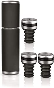 HOYT & Co. 4 Piece Wine Saver Set: Vacuum Pump With 3 Intelli-Stoppers (Black)