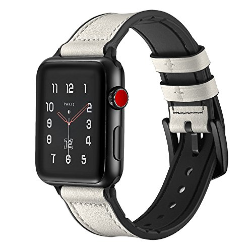 Soon Compatible Apple Watch Band 42mm 44mm, Sweatproof Genuine Leather and Rubber Hybrid Strap Replacement fit iWatch Series 4 3 2 1 Sports & Edition - White