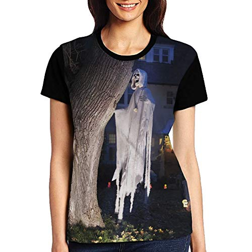 Halloween Scary Night in The Cemetery Girl's Short Sleeve T-Shirt Black -