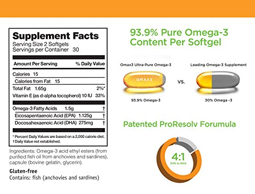 OMAX3® ✱4-Pack✱ Ultra-Pure 93.9% Omega-3 Wild-Caught Fish Oil High-Potency 1500 mg 4:1 Ratio EPA/DHA, NSF-Certified, Soy-Free, Gluten-Free, Non-GMO , 240 Softgels, 120-Day Supply by Omax3 (Image #3)