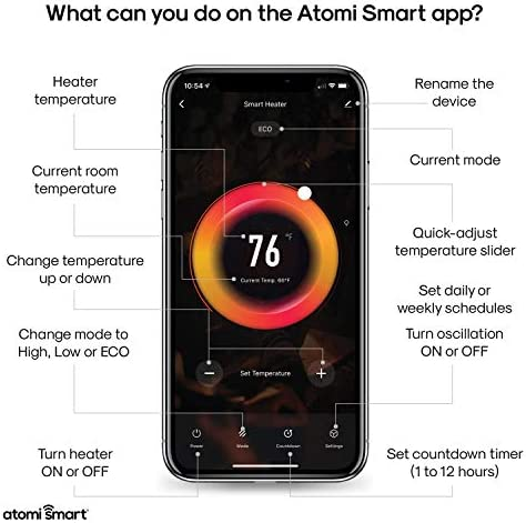 Atomi Smart WiFi Portable Tabletop Space Heater - second Gen, 1500W, Oscillating, 750 Sq. Ft. Coverage, Compatible with Alexa, Google Assistant and the Atomi Smart App