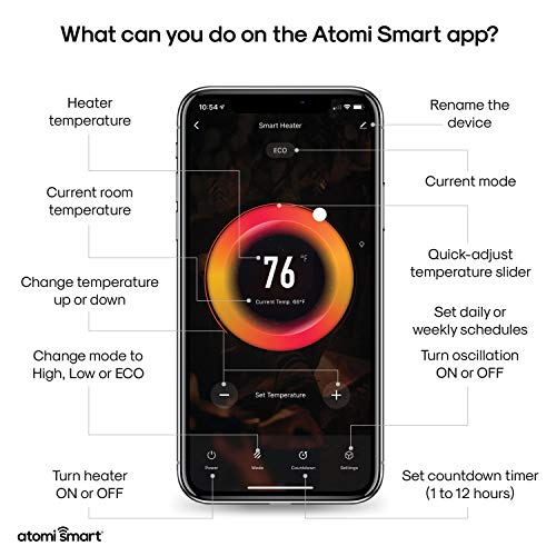 Atomi Smart WiFi Portable Tabletop Space Heater - 2nd Gen, 1500W, Oscillating, 750 Sq. Ft. Coverage, Compatible with Alexa, Google Assistant and the Atomi Smart App