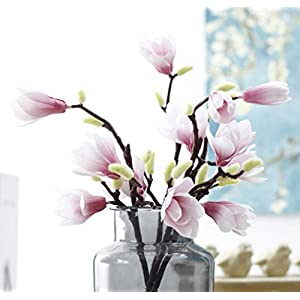 Skyseen 5PCS Artificial Fake Silk Flowers Leaf Magnolia Floral for Wedding Bouquet Home Party Decor,Pink 4