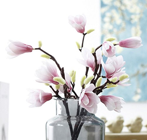 Skyseen 5PCS Artificial Fake Silk Flowers Leaf Magnolia Floral for Wedding Bouquet Home Party Decor,Pink ()