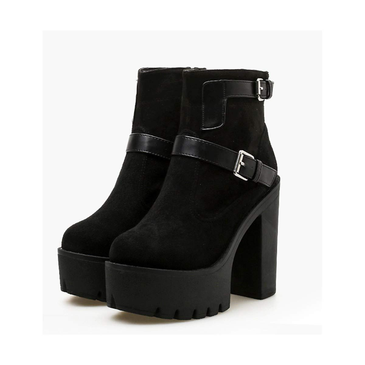 SIKESONG Bout Bottines Femmes Talon Haut Bout SIKESONG Rond Fermeture Éclair Dos Bottes Femmes Chaussures Femmes Flock Bottes Courtes Femmes Yma484B07KF7R81LParent 174392
