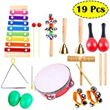 Kids Musical Instruments,Egg Shakers for Babies,Wooden Baby Percussion Toy Rhythm Xylophone,Infant Drum Set,Kids Percussion Toy,Maracas/Wrist Bells/Triangle Hand Bells/Rhythm Band for Toddler, Children Preschool Educational Early Learning 19PCS Kids Musical Instruments Set