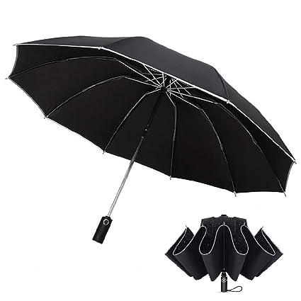 Ombrello Portatile Ombrello Pieghevole Automatico Resistenza Compatto Pioggia Ombrello da Viaggio con Sicura Striscia Riflettente per Uomini e