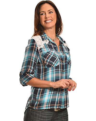 New Direction Sport Women's Blue Plaid Lace Western Shirt Blue Medium (New Directions Clothing)