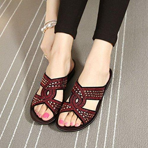 ZPPZZP Ms sandali pantofole trapano artificiale spessa di mezza età e anziani red 40EU