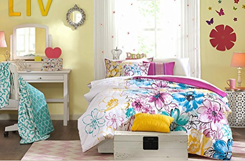Fun Girls Teen Comforter Bedding Set Bright Floral Flowers Pink Purple Aqua Teal Blue Green Yellow White Bedroom Bed for Girl Teens Kids Cheery Sets & Home Style Sleep Mask (Twin/Twin XL) by Home Style (Image #5)