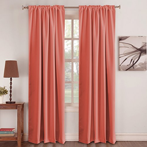 The Color Coral (Thermal Insulated Blackout Curtains - Back Tab/Rod Pocket - Coral - 52