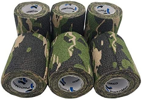 PintoMedCohesieve bandage TapeCamoflaged Green Army gestrekt 6 rollen x 75 cm x 45 m zelfklevende flexibele bandages professionele kwaliteit eerste hulp sport wrap bandages