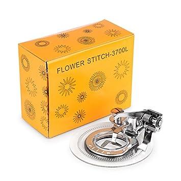 buyyourwish kcasa flor máquina de coser Singer Janome Brother de vástago redondo y bordado flor de pie prensatelas pie para todos los bajo una pieza: ...
