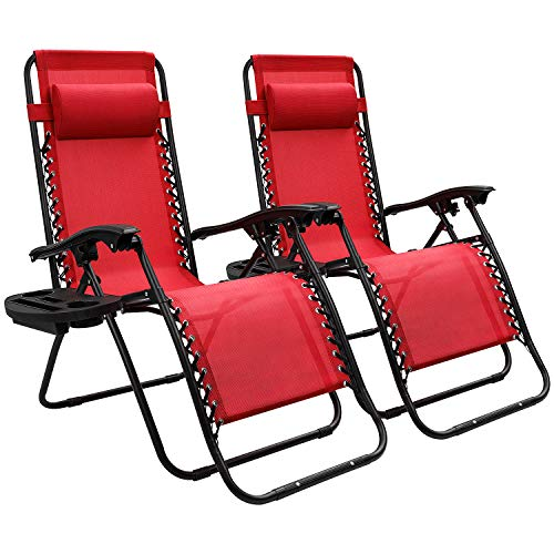 Devoko Patio Zero Gravity Chair Outdoor Free Folding Adjustable Chaise Lounge Chairs Beach Pool Side Using Reclining with Pillow and Tray Holder Set of 2 Red