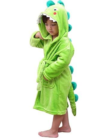 LOLANTA Albornoz de Felpa con Capucha para niños - Dinosaur Flannel Fleece Robe para niños